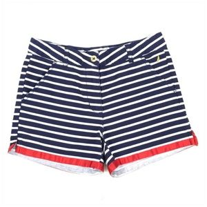 Nautica Girls Navy White Striped Shorts Red Ribbon